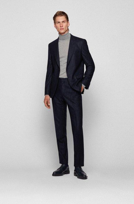 Slim-fit suit in chalk-stripe virgin wool, Dark Blue