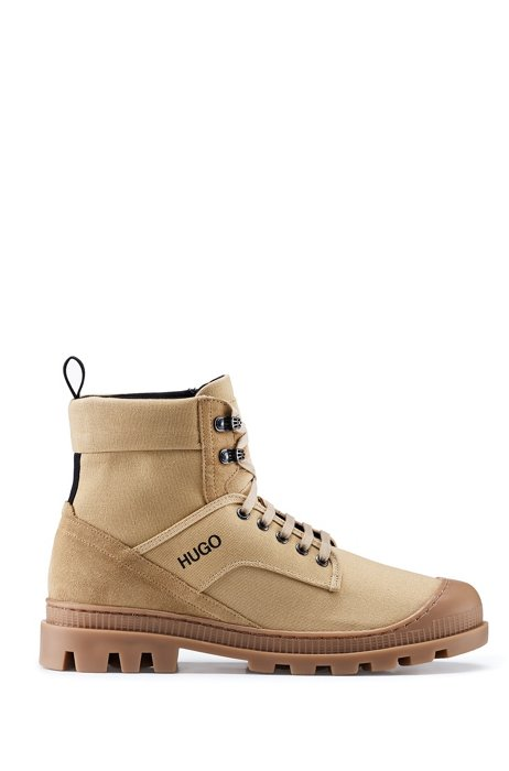 Lace-up boots in suede and cotton canvas, Beige