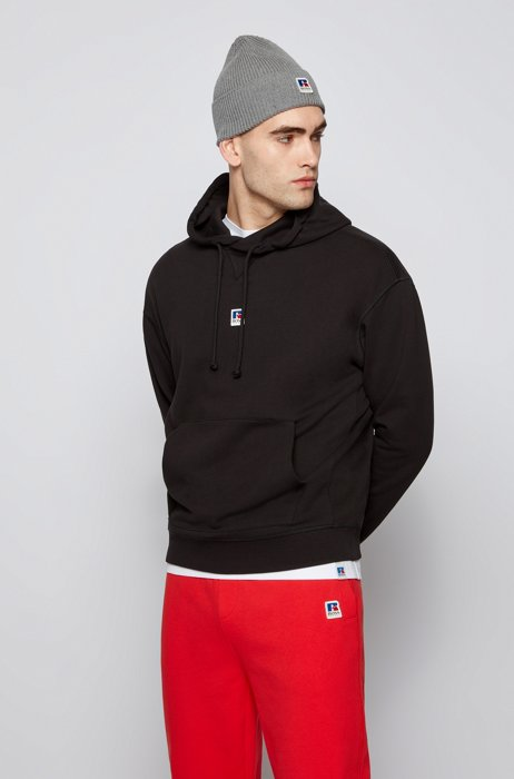 Relaxed-fit unisex hoodie in organic cotton with exclusive logo, Black