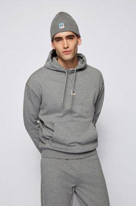 Kapuzenpullover aus Bio-Baumwolle mit exklusivem Logo, Grau