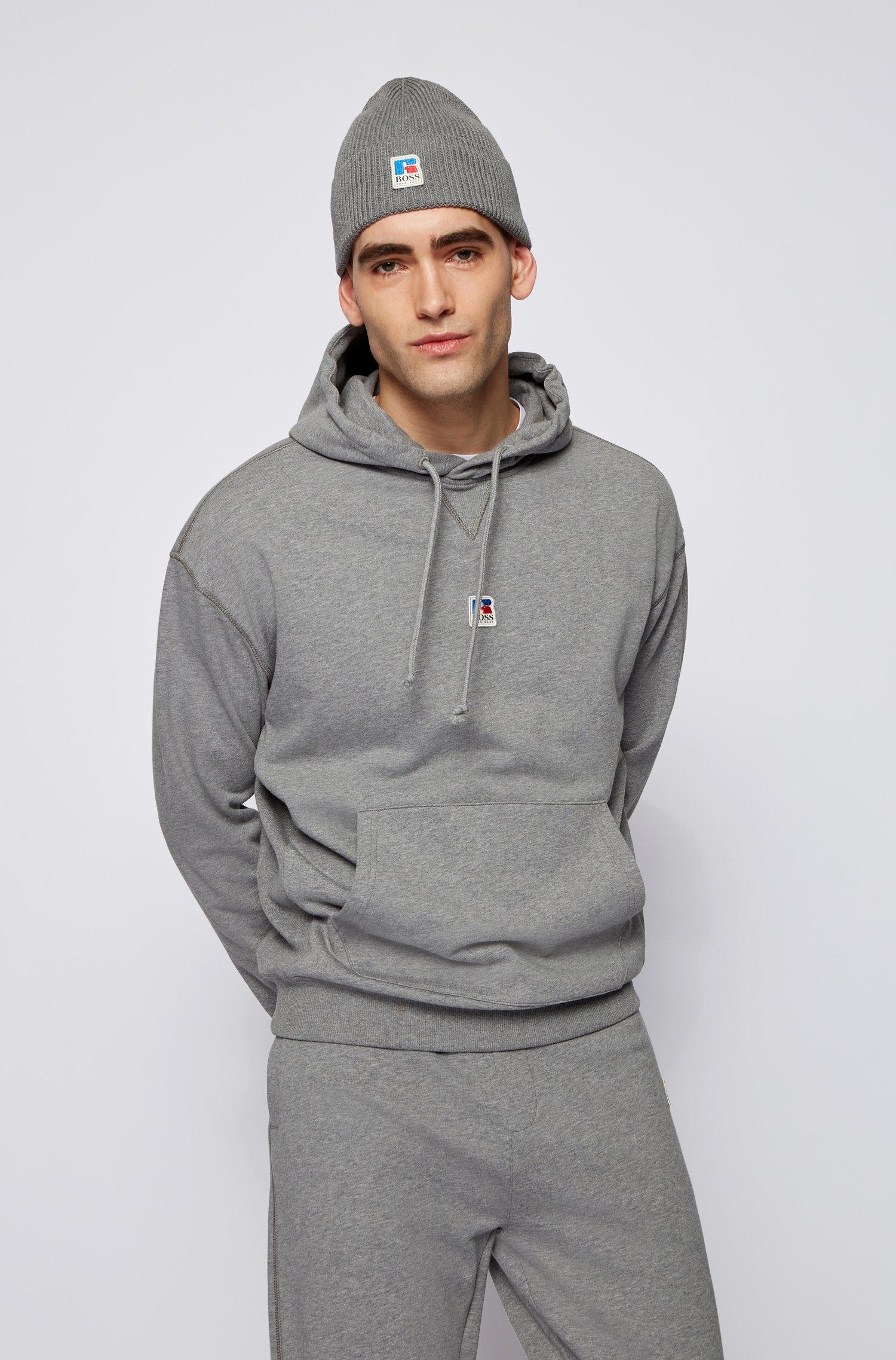 Sudadera con capucha unisex relaxed fit en algodón orgánico con logo exclusivo, Gris
