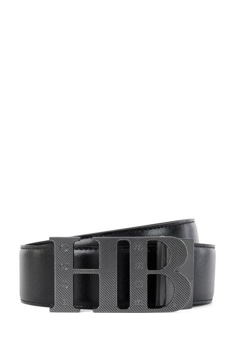 Reversible leather belt with gunmetal monogram plaque, Black