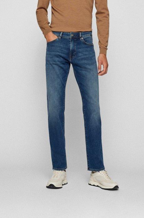Regular-fit jeans in blue super-stretch denim, Blue