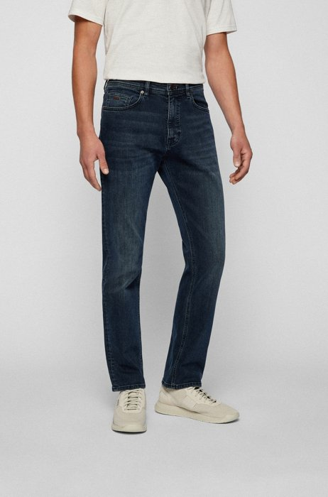 Relaxed-Fit Jeans aus blauschwarzem Super-Stretch-Denim, Dunkelblau