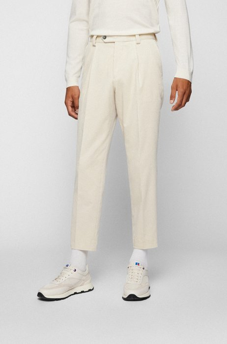 Relaxed-fit pleated trousers in cotton corduroy, White