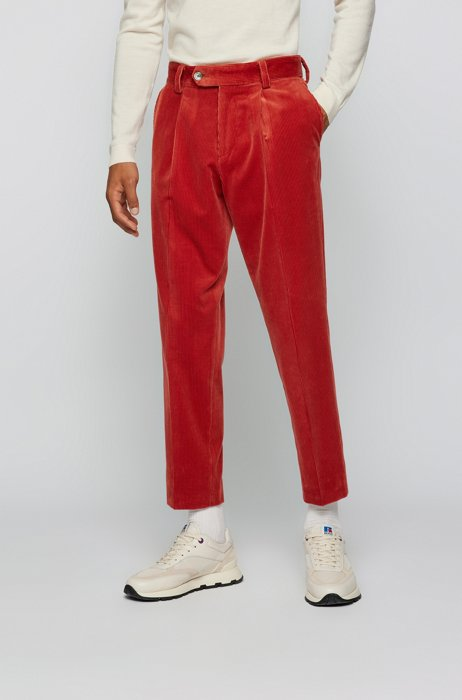 Relaxed-fit pleated trousers in cotton corduroy, Red