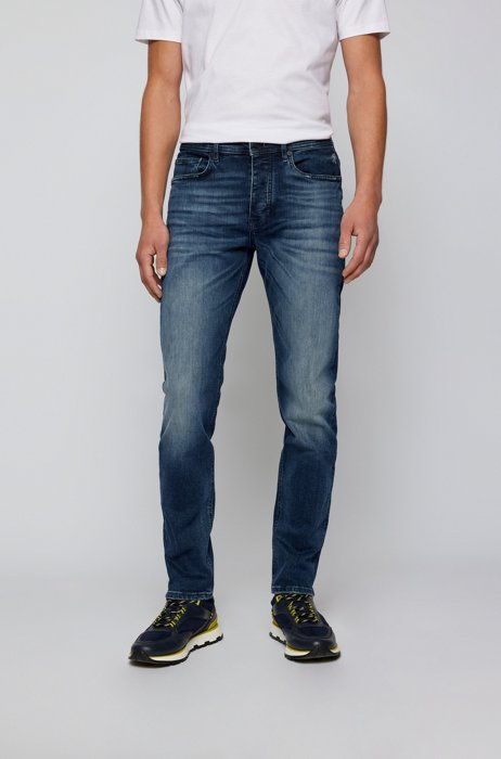 Tapered-fit jeans in dark-blue Italian stretch denim, Dark Blue