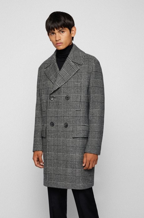 Double-breasted coat in a checked wool blend, Grey