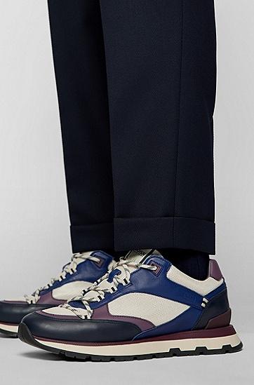 初剪羊毛混纺宽松打褶长裤,  404_Dark Blue