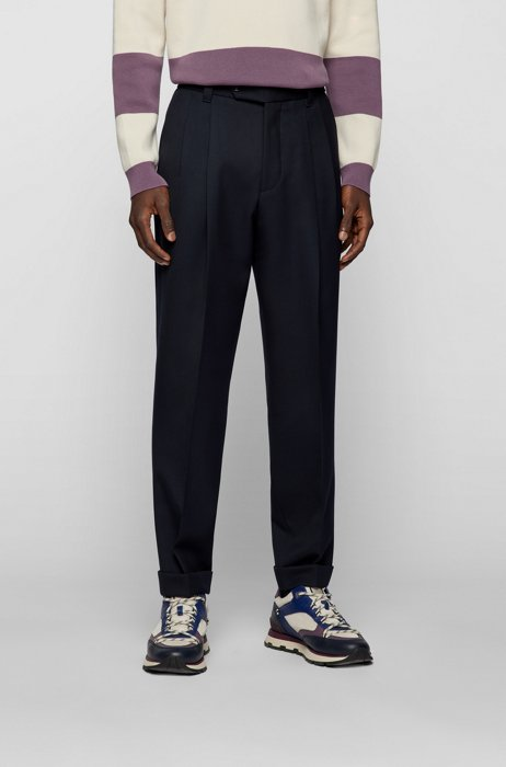 Relaxed-fit pleated trousers in virgin-wool blend, Dark Blue
