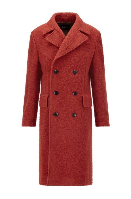 Slim-fit mantel van een wolmix met twee rijen knopen, Rood