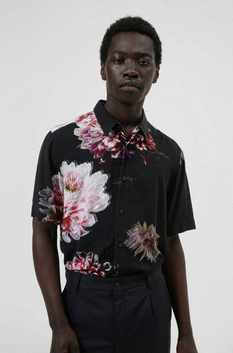 Relaxed-fit shirt in floral-print canvas, Black Patterned