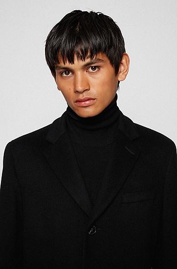 初剪羊毛加羊绒修身大衣,  001_Black