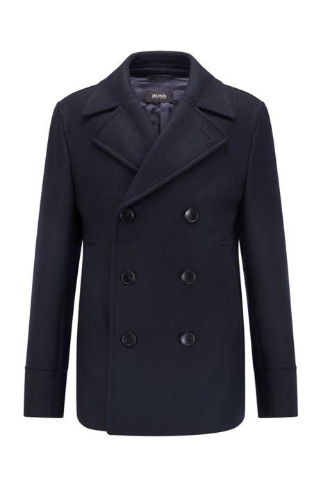 Boss Slim Fit Pea Coat In A Wool Blend, Mens Peacoat Slim Fit Black