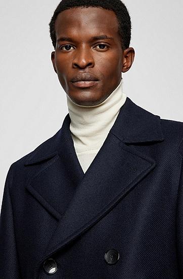 羊毛混纺修身短呢大衣,  402_Dark Blue
