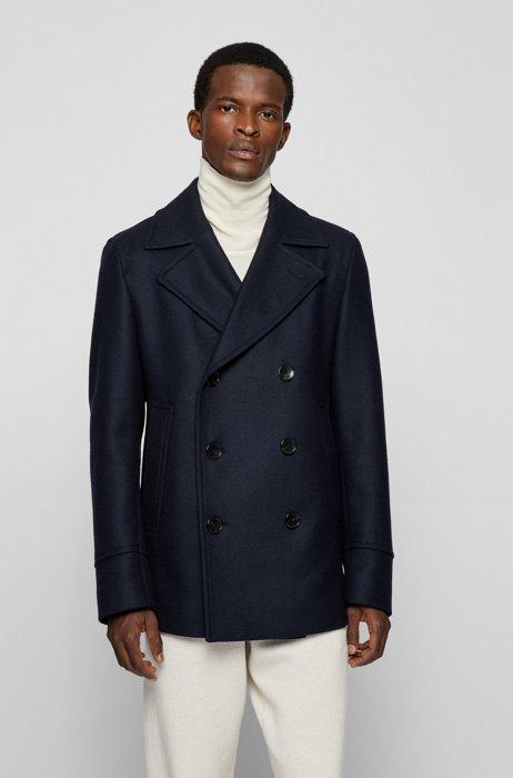 Slim-fit pea coat in a wool blend, Dark Blue