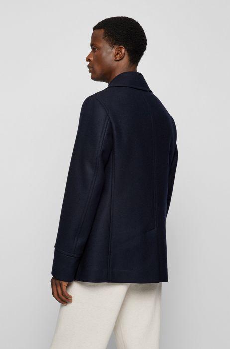 Boss Slim Fit Pea Coat In A Wool Blend, Mens Peacoat Slim Fit Grey