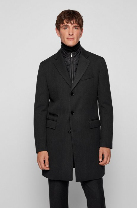 Slim-fit coat with zip-up inner, Dark Grey