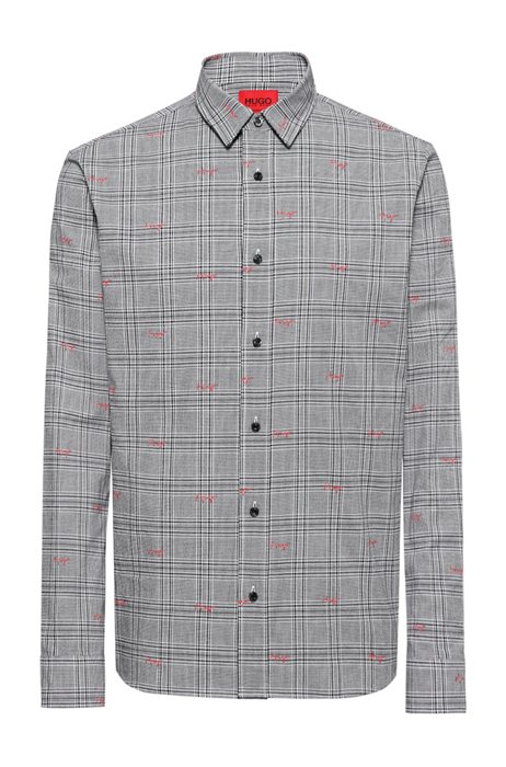 Checked relaxed-fit shirt with handwritten logo motif, Black Patterned