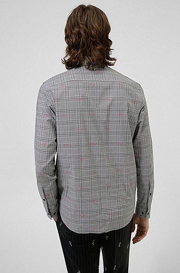 手写徽标图案格纹宽松衬衫,  001_Black