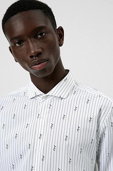 手写体徽标修身衬衫,  199_Open White