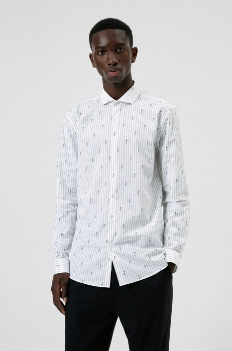 Extra-slim-fit shirt with handwritten logos, White Patterned