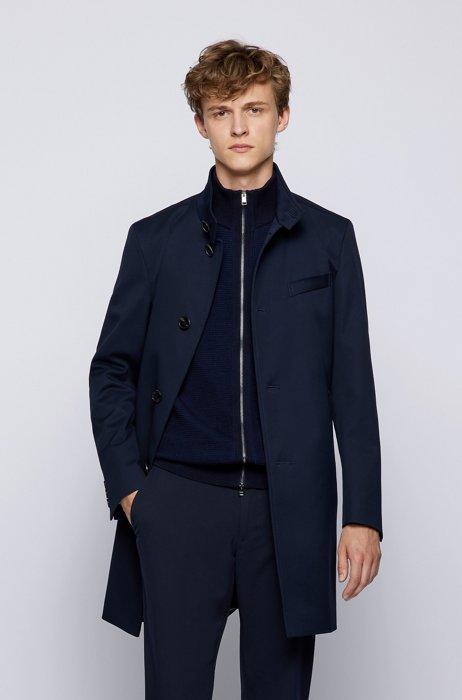Slim-fit coat in pure cotton with stand collar, Dark Blue