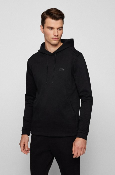 Mixed-material hooded sweatshirt with curved logo, Black