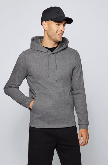 Mixed-material hooded sweatshirt with curved logo, Grey