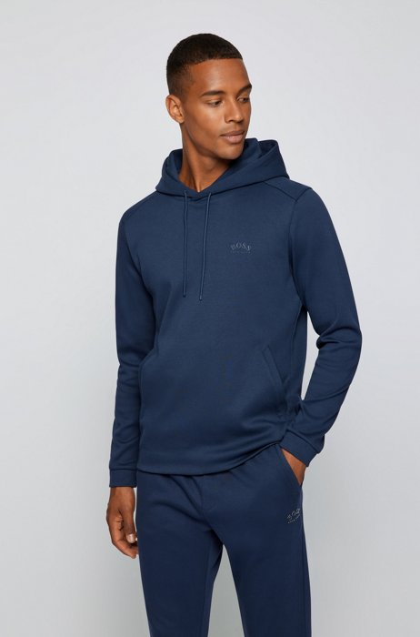 Mixed-material hooded sweatshirt with curved logo, Dark Blue
