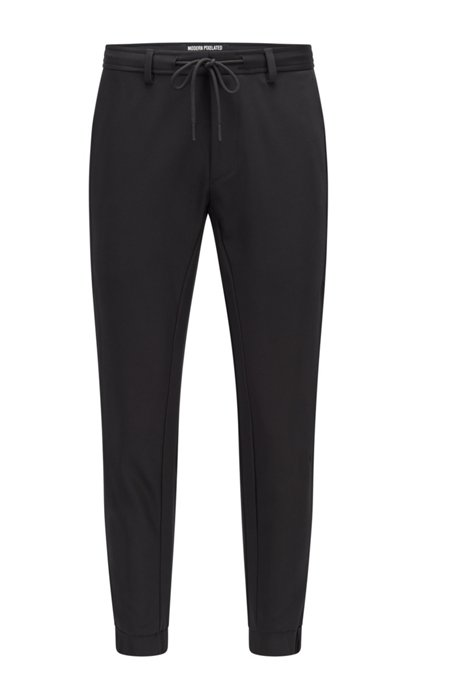 Cotton-blend tracksuit bottoms with logo and pixel print, Black