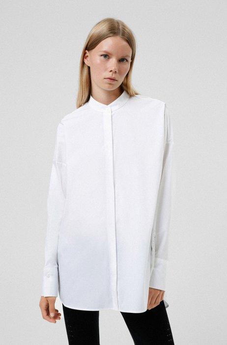 Oversized stretch-cotton blouse with floral manifesto logo artwork, White
