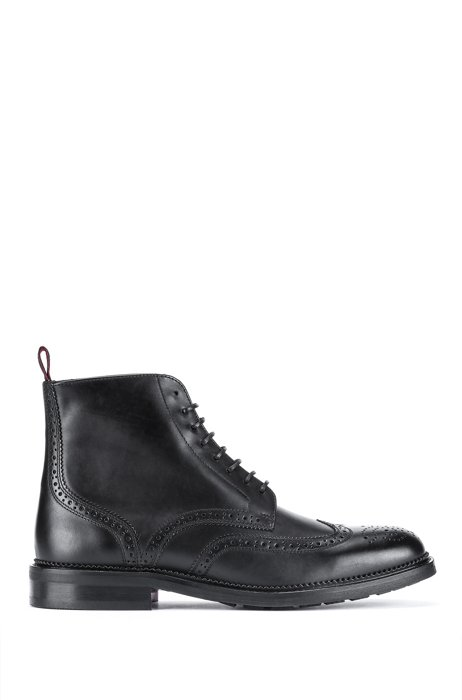 Half boots in leather with brogue details, Black