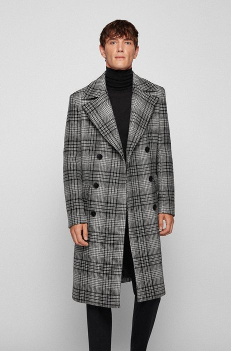 Wool-blend double-breasted coat with houndstooth check, Grey Patterned