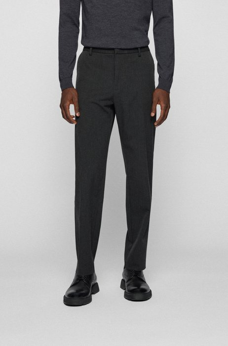 Crease-resistant trousers in stretch twill with secure pocket, Dark Grey