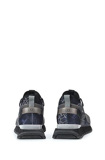 蛇纹图案品牌宣言印花混合材质套袜运动鞋,  001_Black
