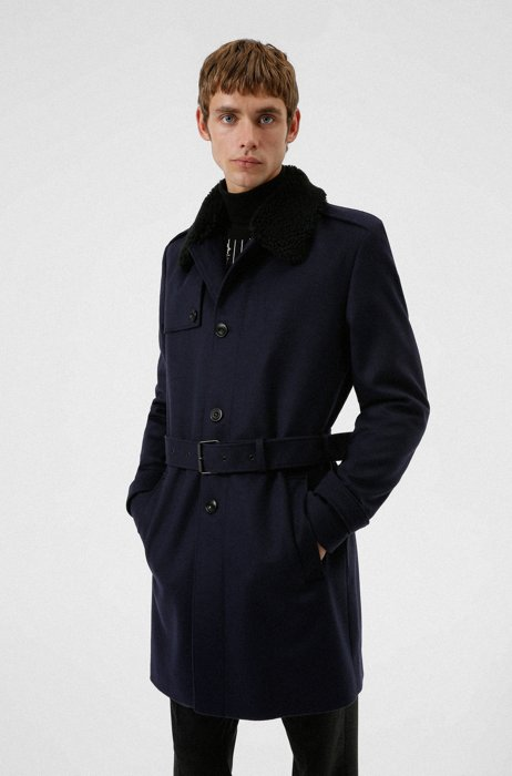 Slim-fit trench coat with faux-fur collar, Dark Blue