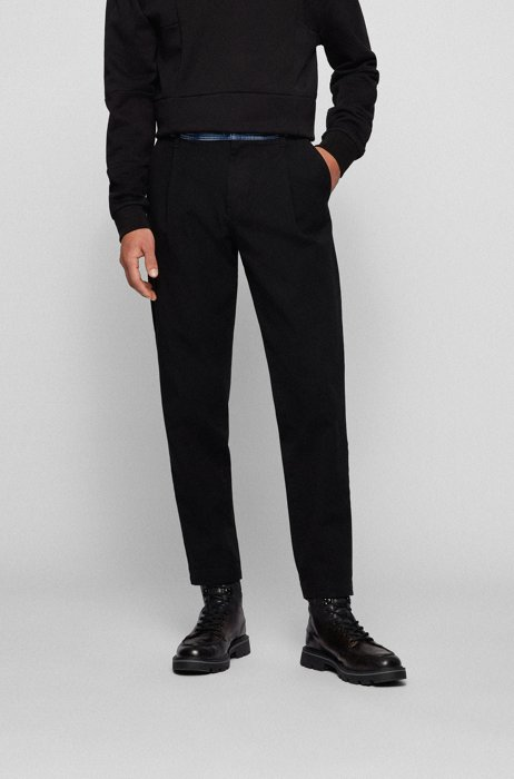 Relaxed-fit jeans in repurposed denim with contrast waistband, Black