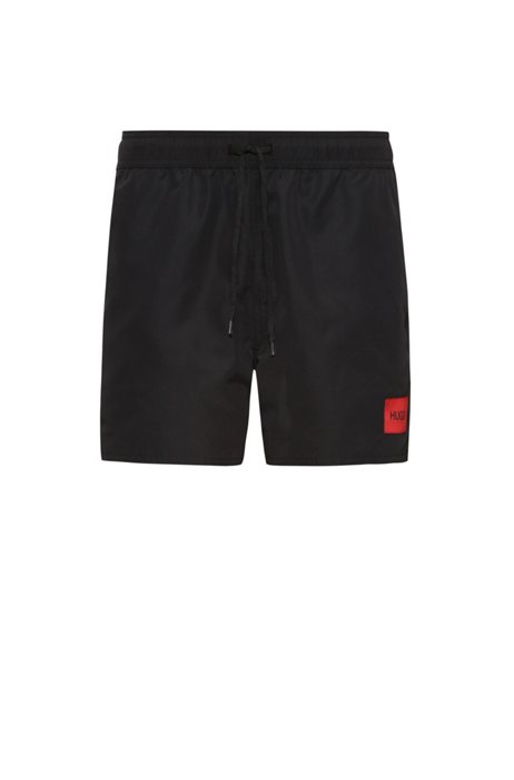 Reversible swim shorts in quick-drying recycled fabric, Black Patterned