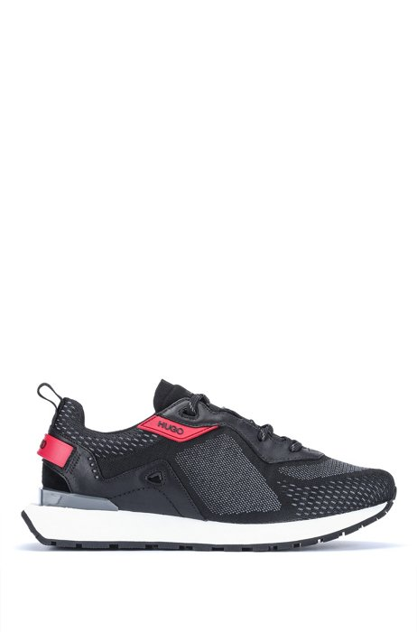 Running-style trainers with jacquard-woven uppers, Dark Grey