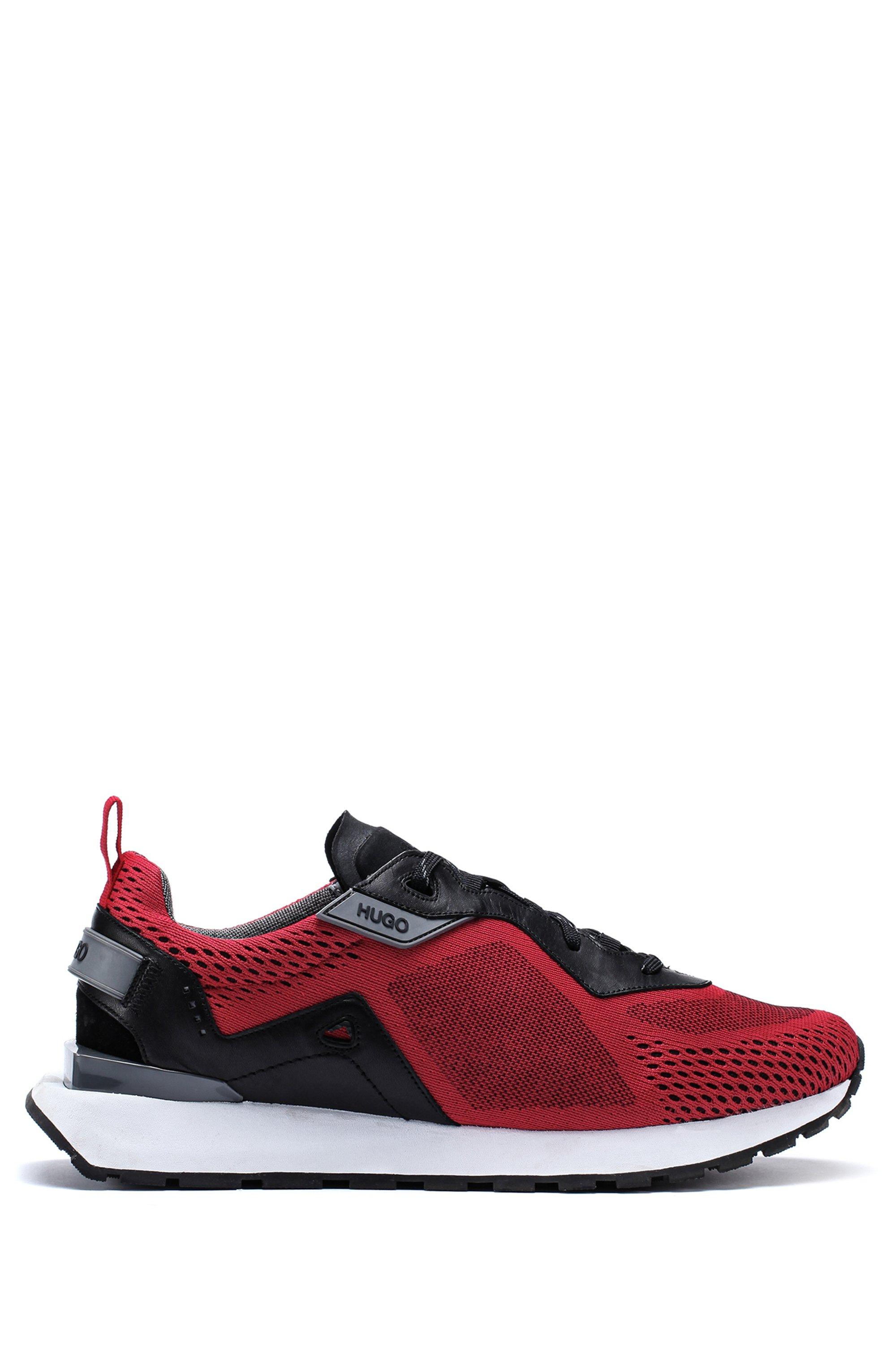 Baskets style chaussures de course avec tige en jacquard tissé, Rouge sombre