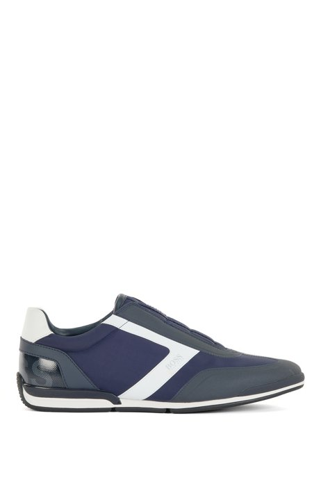 Low-top laceless trainers in mixed materials, Dark Blue