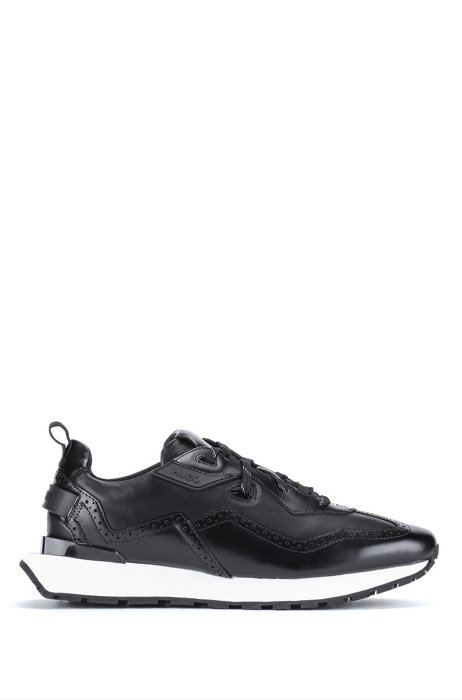 Running-style trainers in leather with brogue details, Black