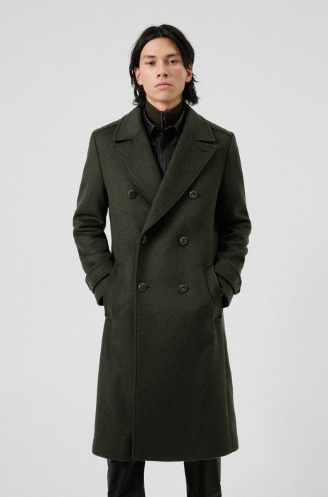 Double-breasted regular-fit coat in a wool blend, Dark Green