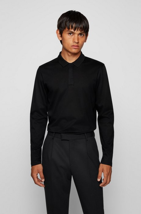 Mercerised-cotton slim-fit polo shirt with structured collar, Black