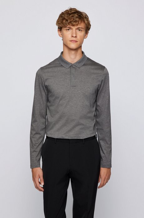 Mercerised-cotton slim-fit polo shirt with structured collar, Grey