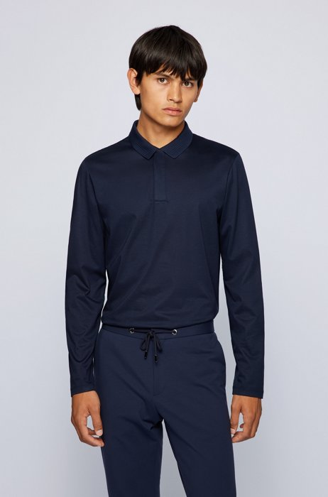 Mercerised-cotton slim-fit polo shirt with structured collar, Dark Blue