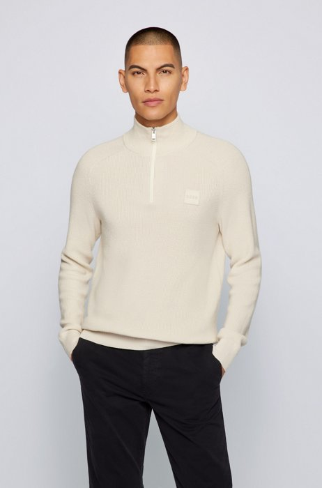 Cotton-blend zip-neck sweater with logo badge, White