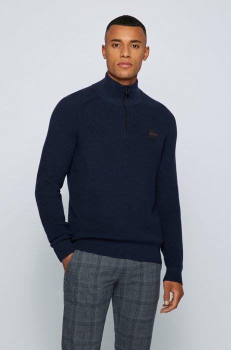 Cotton-blend zip-neck sweater with logo badge, Dark Blue