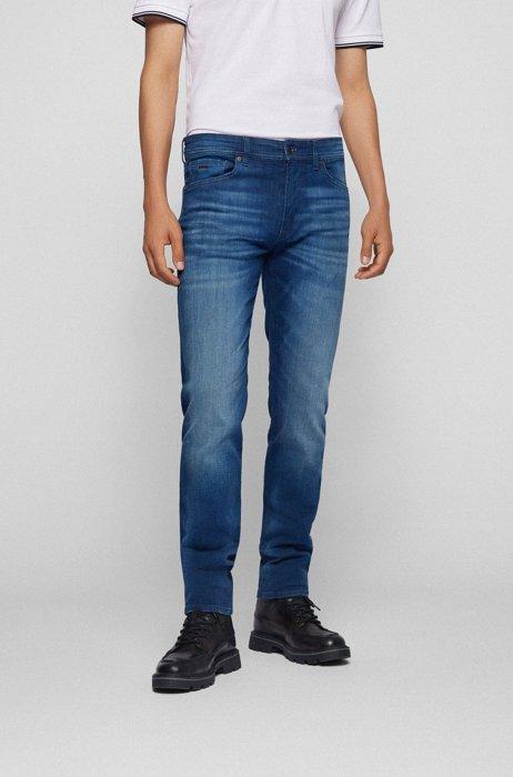 Regular-fit jeans in blue super-stretch denim, Dark Blue